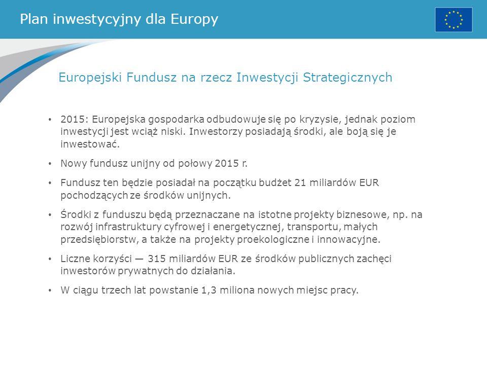 Plan inwestycyjny dla Europy Europejski Fundusz na rzecz Inwestycji Strategicznych 2015: Europejska gospodarka odbudowuje się po kryzysie, jednak pozi