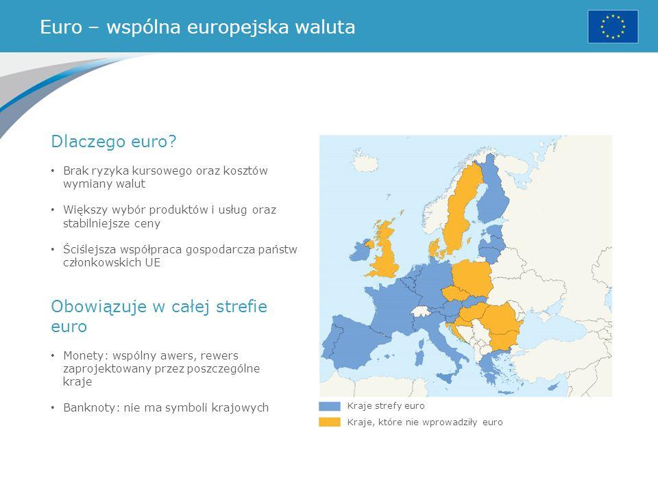 Euro – wspólna europejska waluta Kraje strefy euro Kraje, które nie wprowadziły euro Dlaczego euro? Brak ryzyka kursowego oraz kosztów wymiany walut W