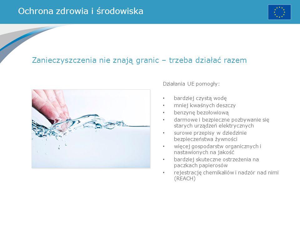 Ochrona zdrowia i środowiska Działania UE pomogły: bardziej czystą wodę mniej kwaśnych deszczy benzynę bezołowiową darmowe i bezpieczne pozbywanie się