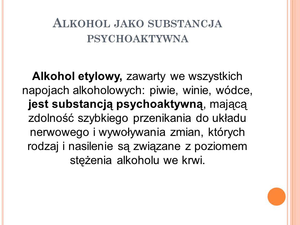 A LKOHOL JAKO SUBSTANCJA TŁUMIĄCA Alkohol jest substancją tłumiącą (działającą depresyjnie), a odczuwane pobudzenie po spożyciu alkoholu jest przejściowe i związane z hamowaniem mechanizmów kontrolujących, co skutkuje zaburzeniem krytycyzmu i samokontroli oraz gwałtownymi wahaniami nastroju.