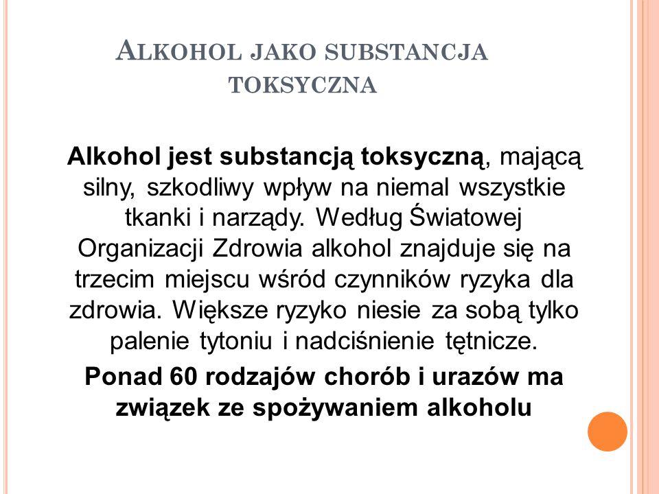 A LKOHOL JAKO SUBSTANCJA TOKSYCZNA Alkohol jest substancją toksyczną, mającą silny, szkodliwy wpływ na niemal wszystkie tkanki i narządy. Według Świat
