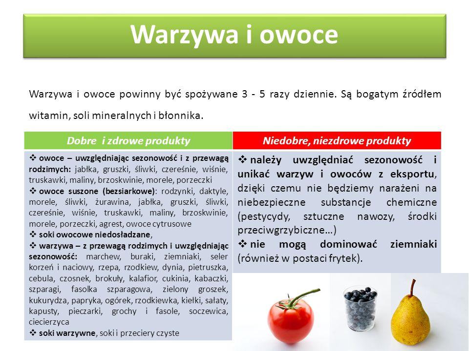 Warzywa i owoce powinny być spożywane 3 - 5 razy dziennie. Są bogatym źródłem witamin, soli mineralnych i błonnika. Warzywa i owoce Dobre i zdrowe pro