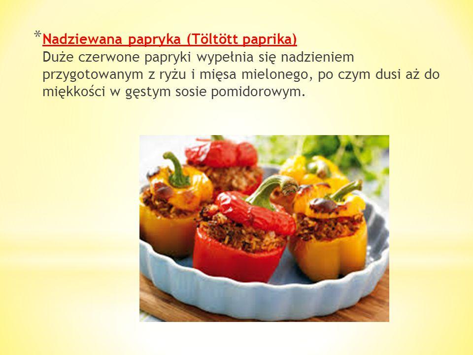 * Smażone gęsie wątróbki (Rántott libamájszeletek, Libamáj) Przyrządza się je krojąc mięso na cienkie kawałki i obsmażając je w zwykłej panierce z jaj