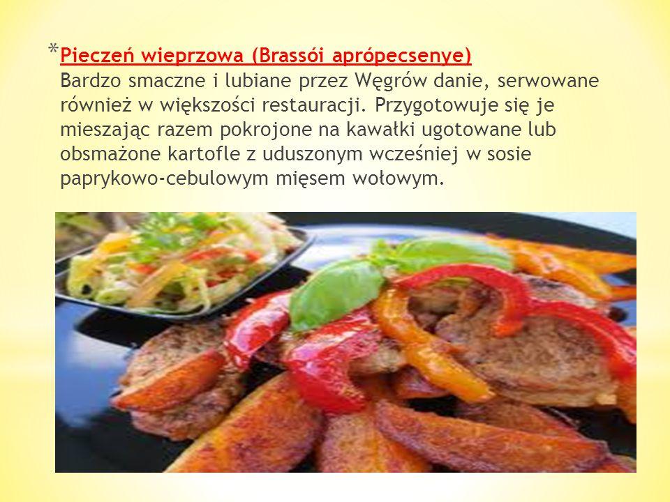 * Mięso à la Budapest módra Zazwyczaj pod tą nazwą kryją się kotlety cielęce, wołowe lub wieprzowe smażone z grzybami i żółtym serem. Mięso opieka się