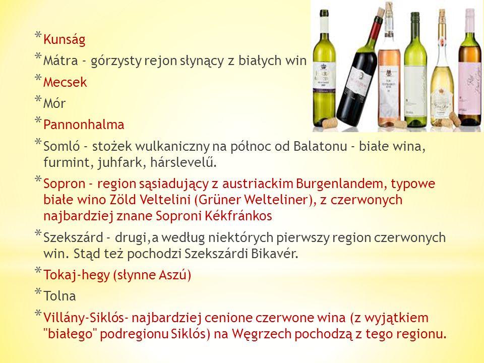 Regiony winiarskie na Węgrzech: * Ászár - Neszmély - wina białe * Badacsony - głównie białe (m.in. Badacsonyi Szürkebarát) * Balatonboglár * Balatonfü