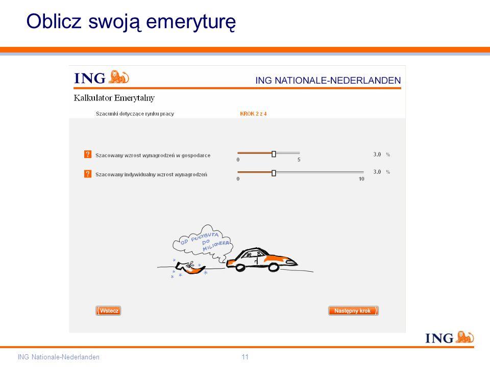 Pole zarezerwowane dla paska brandingowego Orange RGB= 255,102,000 Light blue RGB= 180,195,225 Dark blue RGB= 000,000,102 Grey RGB= 150,150,150 ING opis kolorów ING Nationale-Nederlanden11 Oblicz swoją emeryturę