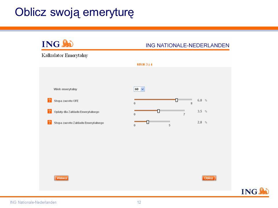 Pole zarezerwowane dla paska brandingowego Orange RGB= 255,102,000 Light blue RGB= 180,195,225 Dark blue RGB= 000,000,102 Grey RGB= 150,150,150 ING opis kolorów ING Nationale-Nederlanden12 Oblicz swoją emeryturę