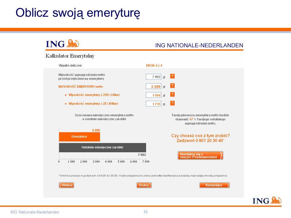 Pole zarezerwowane dla paska brandingowego Orange RGB= 255,102,000 Light blue RGB= 180,195,225 Dark blue RGB= 000,000,102 Grey RGB= 150,150,150 ING opis kolorów ING Nationale-Nederlanden16 Oblicz swoją emeryturę
