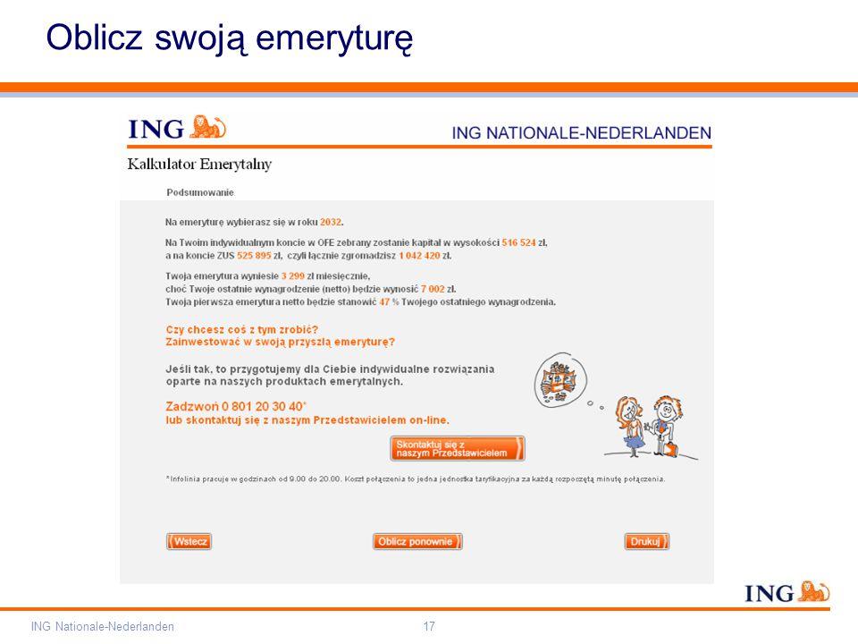 Pole zarezerwowane dla paska brandingowego Orange RGB= 255,102,000 Light blue RGB= 180,195,225 Dark blue RGB= 000,000,102 Grey RGB= 150,150,150 ING opis kolorów ING Nationale-Nederlanden17 Oblicz swoją emeryturę