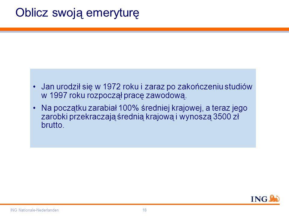 Pole zarezerwowane dla paska brandingowego Orange RGB= 255,102,000 Light blue RGB= 180,195,225 Dark blue RGB= 000,000,102 Grey RGB= 150,150,150 ING opis kolorów ING Nationale-Nederlanden18 Oblicz swoją emeryturę Jan urodził się w 1972 roku i zaraz po zakończeniu studiów w 1997 roku rozpoczął pracę zawodową.