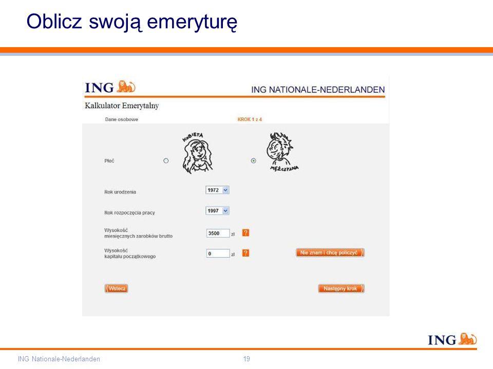 Pole zarezerwowane dla paska brandingowego Orange RGB= 255,102,000 Light blue RGB= 180,195,225 Dark blue RGB= 000,000,102 Grey RGB= 150,150,150 ING opis kolorów ING Nationale-Nederlanden19 Oblicz swoją emeryturę
