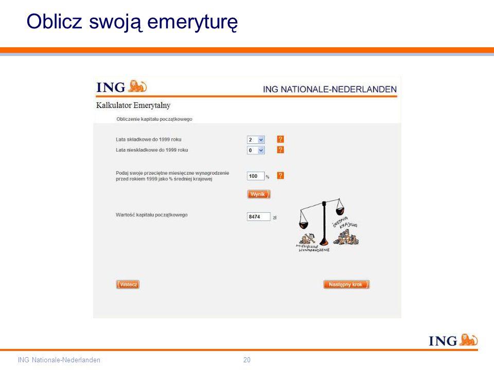 Pole zarezerwowane dla paska brandingowego Orange RGB= 255,102,000 Light blue RGB= 180,195,225 Dark blue RGB= 000,000,102 Grey RGB= 150,150,150 ING opis kolorów ING Nationale-Nederlanden20 Oblicz swoją emeryturę