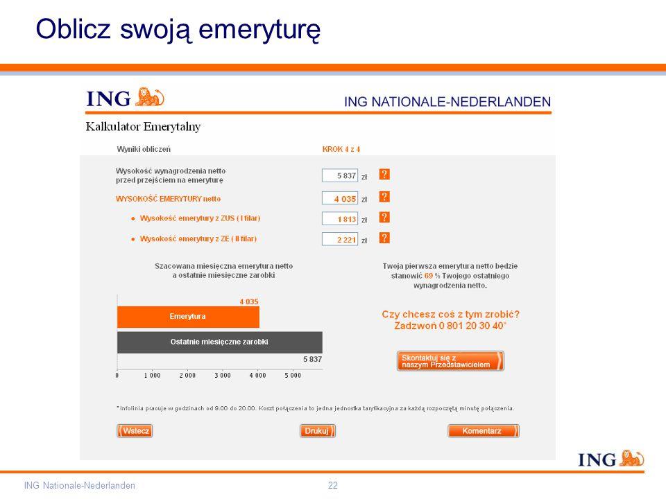 Pole zarezerwowane dla paska brandingowego Orange RGB= 255,102,000 Light blue RGB= 180,195,225 Dark blue RGB= 000,000,102 Grey RGB= 150,150,150 ING opis kolorów ING Nationale-Nederlanden22 Oblicz swoją emeryturę