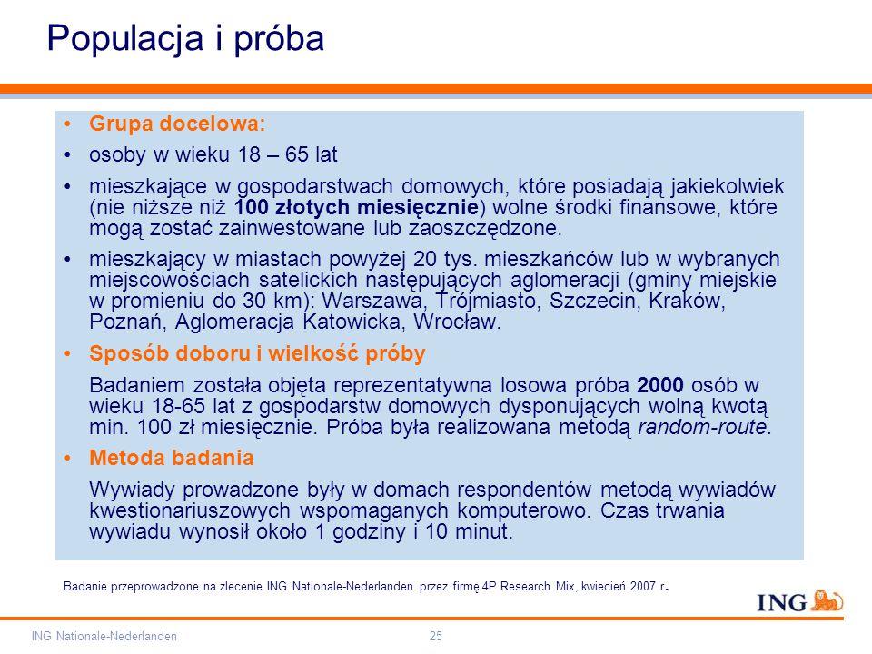 Pole zarezerwowane dla paska brandingowego Orange RGB= 255,102,000 Light blue RGB= 180,195,225 Dark blue RGB= 000,000,102 Grey RGB= 150,150,150 ING opis kolorów ING Nationale-Nederlanden25 Populacja i próba Grupa docelowa: osoby w wieku 18 – 65 lat mieszkające w gospodarstwach domowych, które posiadają jakiekolwiek (nie niższe niż 100 złotych miesięcznie) wolne środki finansowe, które mogą zostać zainwestowane lub zaoszczędzone.