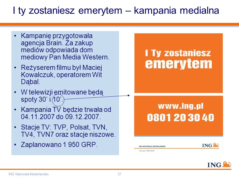 Pole zarezerwowane dla paska brandingowego Orange RGB= 255,102,000 Light blue RGB= 180,195,225 Dark blue RGB= 000,000,102 Grey RGB= 150,150,150 ING opis kolorów ING Nationale-Nederlanden37 I ty zostaniesz emerytem – kampania medialna Kampanię przygotowała agencja Brain.