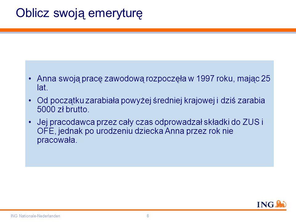 Pole zarezerwowane dla paska brandingowego Orange RGB= 255,102,000 Light blue RGB= 180,195,225 Dark blue RGB= 000,000,102 Grey RGB= 150,150,150 ING opis kolorów ING Nationale-Nederlanden8 Oblicz swoją emeryturę Anna swoją pracę zawodową rozpoczęła w 1997 roku, mając 25 lat.