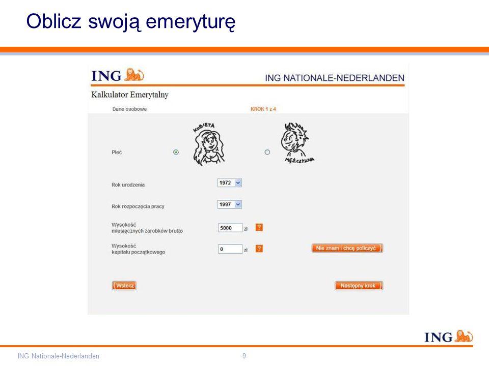 Pole zarezerwowane dla paska brandingowego Orange RGB= 255,102,000 Light blue RGB= 180,195,225 Dark blue RGB= 000,000,102 Grey RGB= 150,150,150 ING opis kolorów ING Nationale-Nederlanden9 Oblicz swoją emeryturę