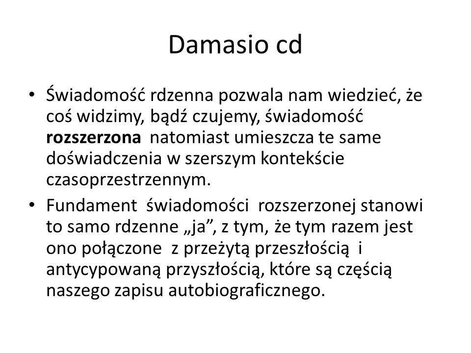 Damasio cd Świadomość rdzenna pozwala nam wiedzieć, że coś widzimy, bądź czujemy, świadomość rozszerzona natomiast umieszcza te same doświadczenia w s