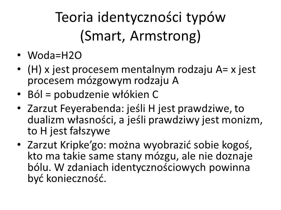 Teoria identyczności typów (Smart, Armstrong) Woda=H2O (H) x jest procesem mentalnym rodzaju A= x jest procesem mózgowym rodzaju A Ból = pobudzenie wł