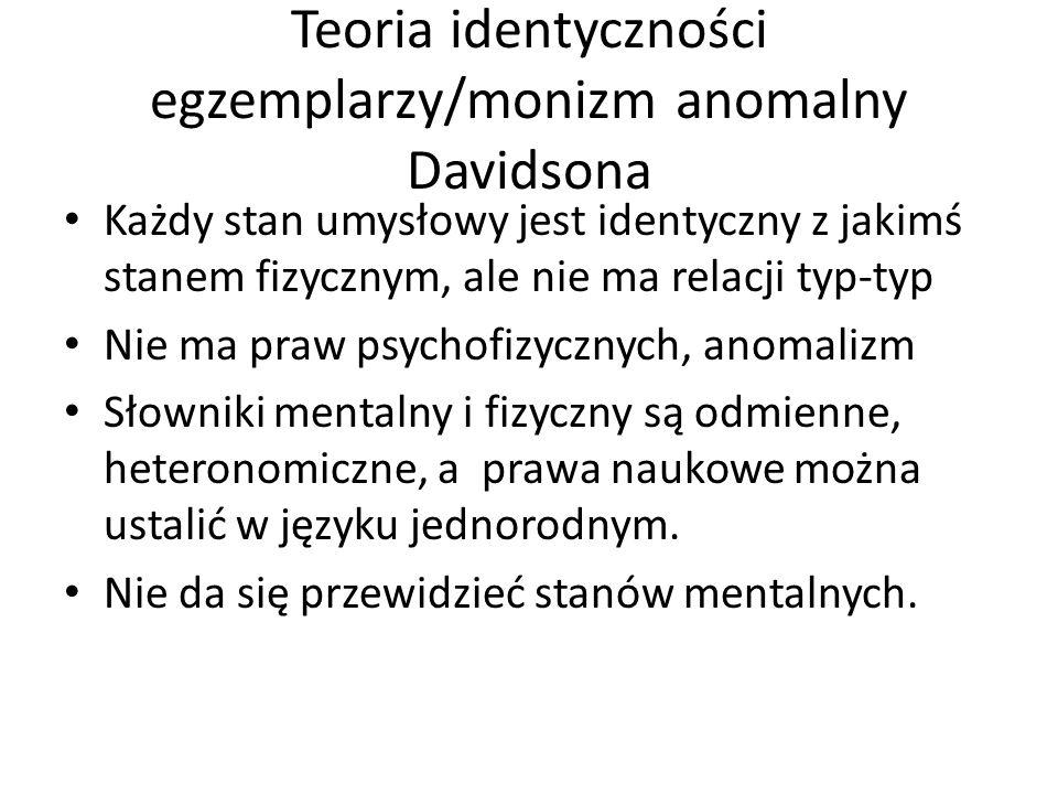 Teoria identyczności egzemplarzy/monizm anomalny Davidsona Każdy stan umysłowy jest identyczny z jakimś stanem fizycznym, ale nie ma relacji typ-typ N