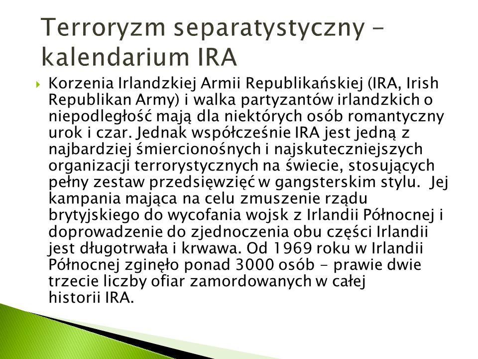  Korzenia Irlandzkiej Armii Republikańskiej (IRA, Irish Republikan Army) i walka partyzantów irlandzkich o niepodległość mają dla niektórych osób rom