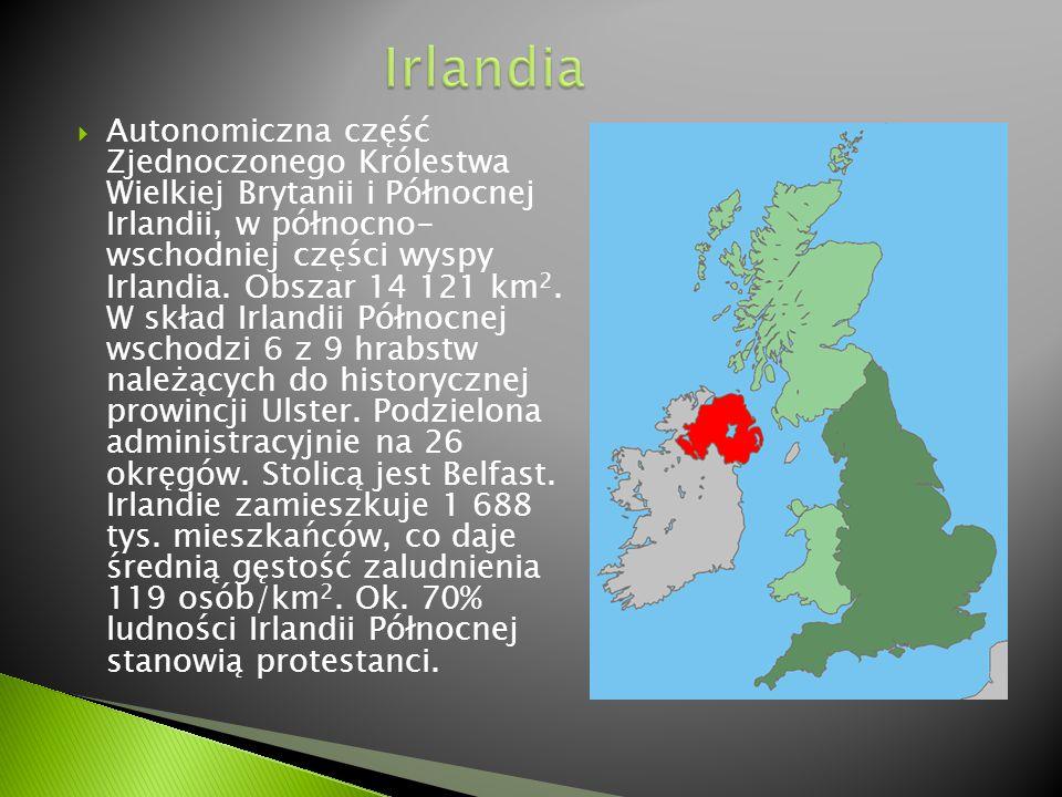  Autonomiczna część Zjednoczonego Królestwa Wielkiej Brytanii i Północnej Irlandii, w północno- wschodniej części wyspy Irlandia. Obszar 14 121 km 2.