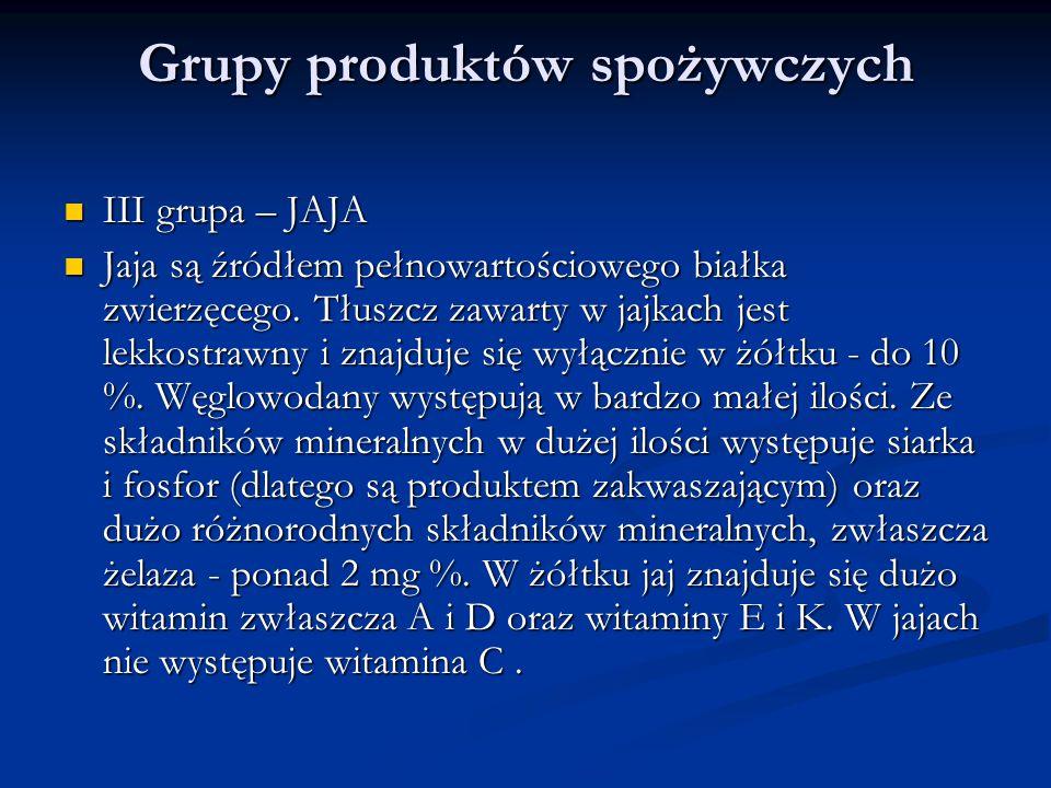 Grupy produktów spożywczych III grupa – JAJA III grupa – JAJA Jaja są źródłem pełnowartościowego białka zwierzęcego. Tłuszcz zawarty w jajkach jest le