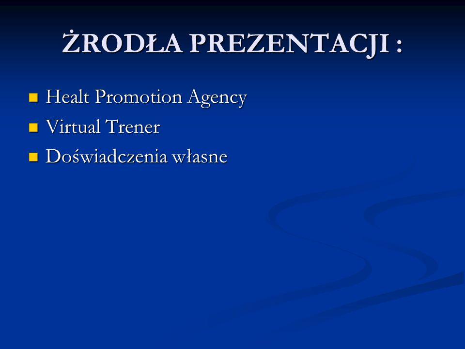 ŻRODŁA PREZENTACJI : Healt Promotion Agency Healt Promotion Agency Virtual Trener Virtual Trener Doświadczenia własne Doświadczenia własne