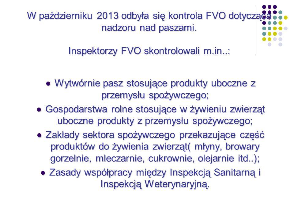 W październiku 2013 odbyła się kontrola FVO dotycząca nadzoru nad paszami.