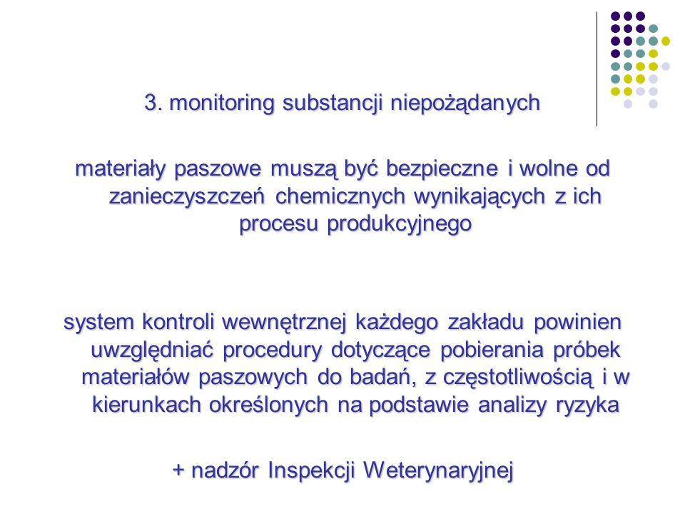 3. monitoring substancji niepożądanych materiały paszowe muszą być bezpieczne i wolne od zanieczyszczeń chemicznych wynikających z ich procesu produkc