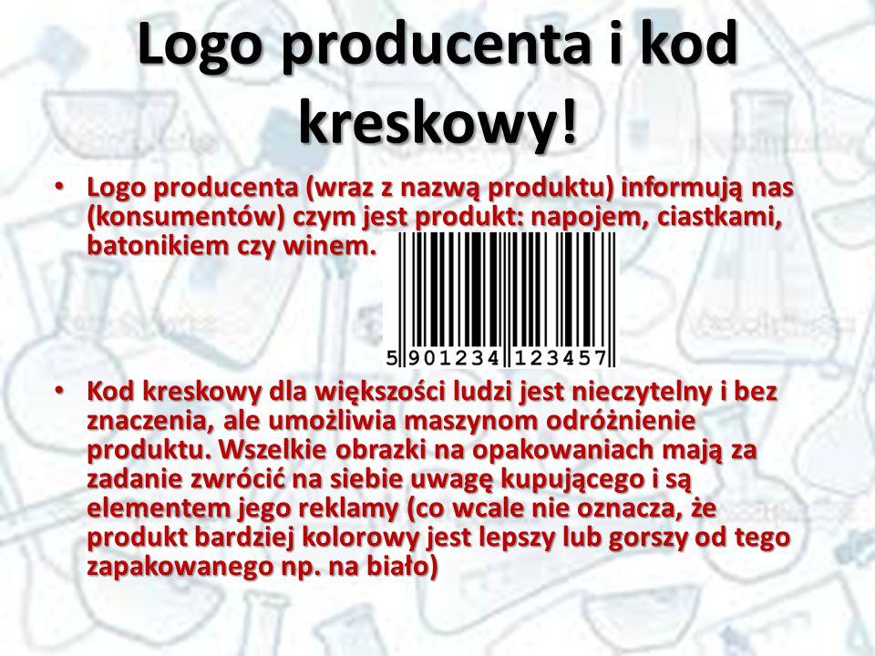 Logo producenta i kod kreskowy! Logo producenta (wraz z nazwą produktu) informują nas (konsumentów) czym jest produkt: napojem, ciastkami, batonikiem