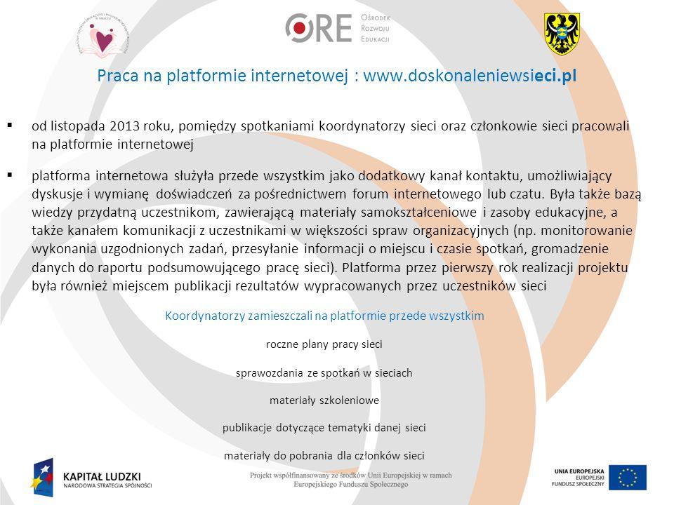Praca na platformie internetowej : www.doskonaleniewsieci.pl  od listopada 2013 roku, pomiędzy spotkaniami koordynatorzy sieci oraz członkowie sieci