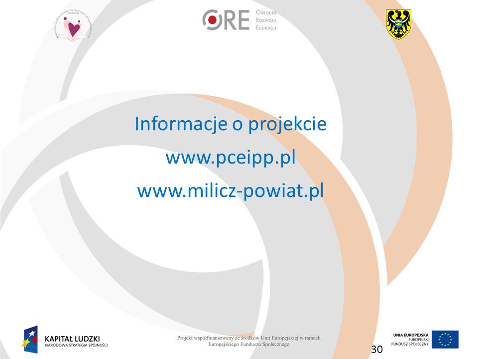 Informacje o projekcie www.pceipp.pl www.milicz-powiat.pl 30
