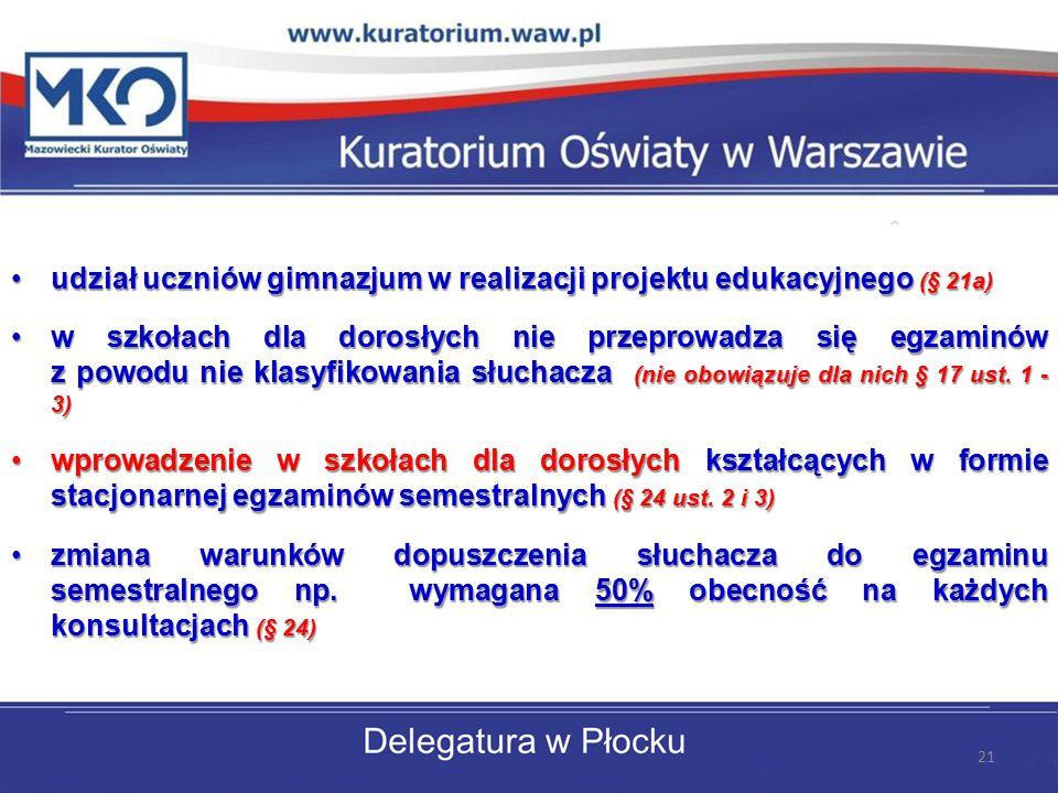 udział uczniów gimnazjum w realizacji projektu edukacyjnego (§ 21a)udział uczniów gimnazjum w realizacji projektu edukacyjnego (§ 21a) w szkołach dla dorosłych nie przeprowadza się egzaminów z powodu nie klasyfikowania słuchacza (nie obowiązuje dla nich § 17 ust.