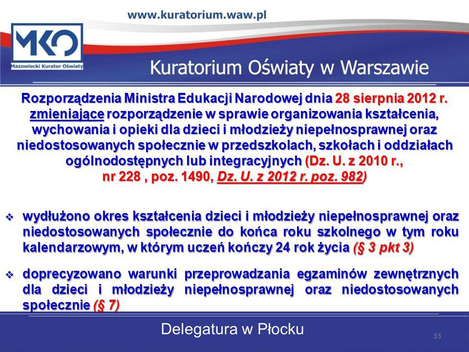 Rozporządzenia Ministra Edukacji Narodowej dnia 28 sierpnia 2012 r. zmieniające rozporządzenie w sprawie organizowania kształcenia, wychowania i opiek