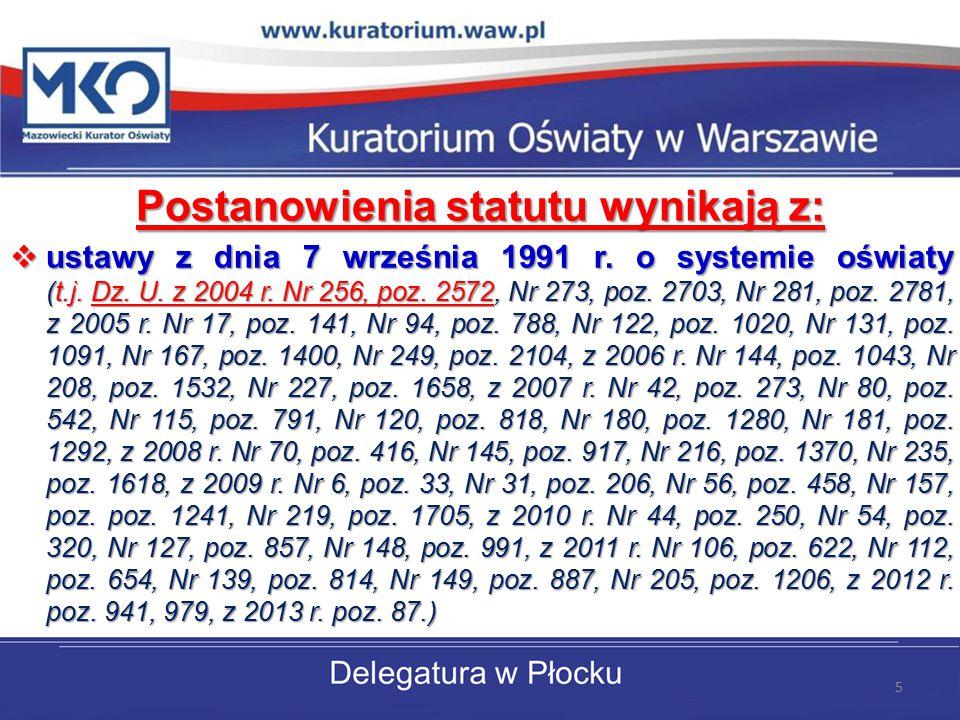 Postanowienia statutu wynikają z:  ustawy z dnia 7 września 1991 r. o systemie oświaty (t.j. Dz. U. z 2004 r. Nr 256, poz. 2572, Nr 273, poz. 2703, N