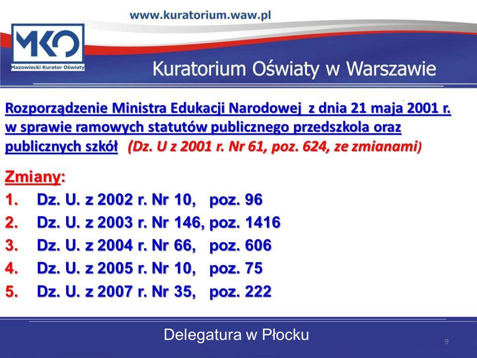 Rozporządzenie Ministra Edukacji Narodowej z dnia 21 maja 2001 r. w sprawie ramowych statutów publicznego przedszkola oraz publicznych szkół (Dz. U z