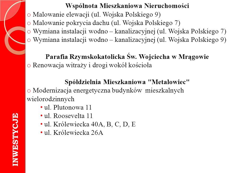 INWESTYCJE Wspólnota Mieszkaniowa Nieruchomości o Malowanie elewacji (ul. Wojska Polskiego 9) o Malowanie pokrycia dachu (ul. Wojska Polskiego 7) o Wy