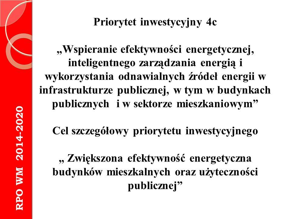 """RPO WM 2014-2020 Priorytet inwestycyjny 4c """"Wspieranie efektywności energetycznej, inteligentnego zarządzania energią i wykorzystania odnawialnych źró"""
