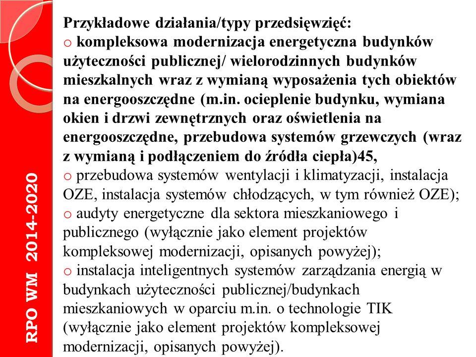 RPO WM 2014-2020 Przykładowe działania/typy przedsięwzięć: o kompleksowa modernizacja energetyczna budynków użyteczności publicznej/ wielorodzinnych b