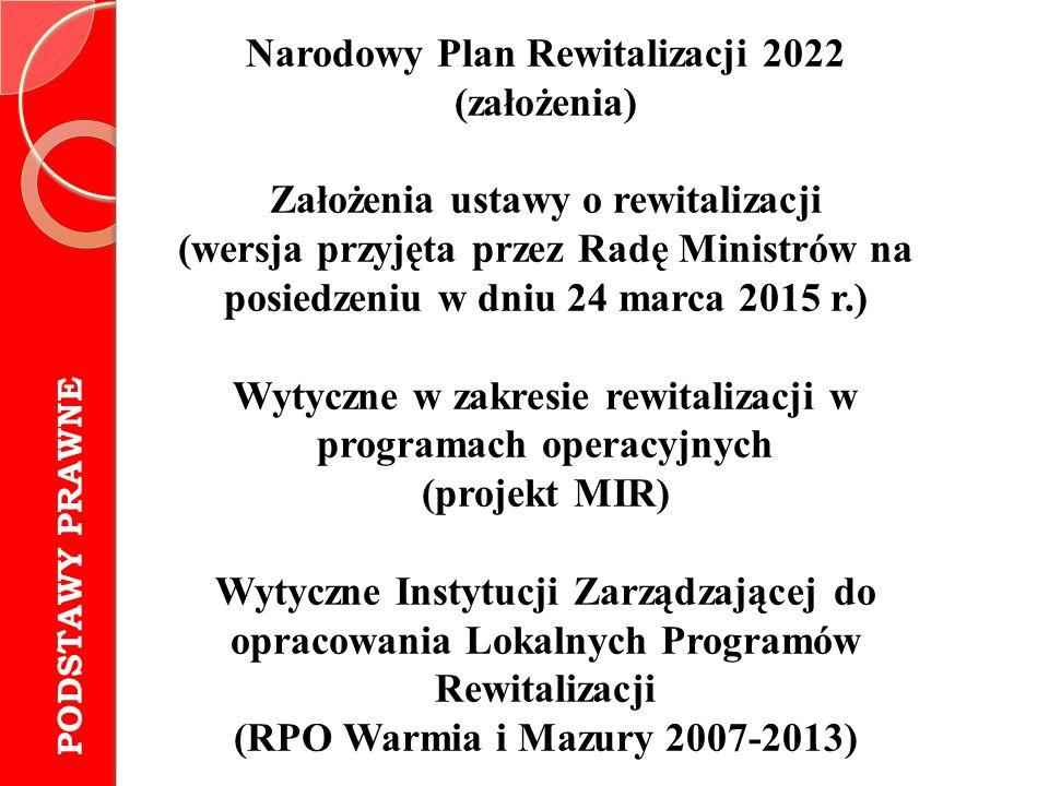 Narodowy Plan Rewitalizacji 2022 (założenia) Założenia ustawy o rewitalizacji (wersja przyjęta przez Radę Ministrów na posiedzeniu w dniu 24 marca 201
