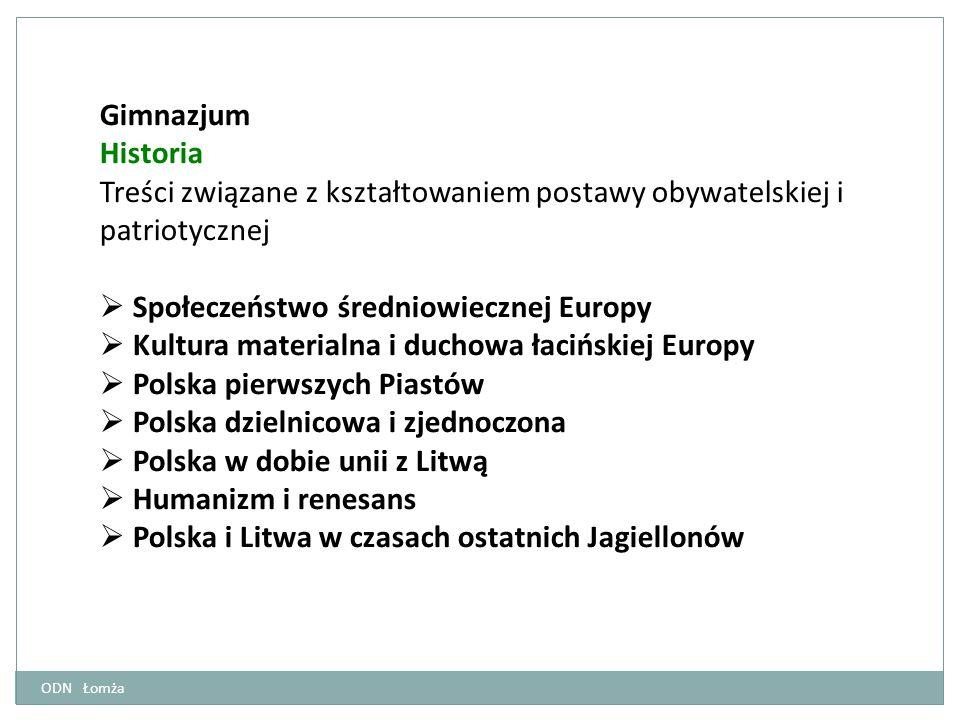Gimnazjum Historia Treści związane z kształtowaniem postawy obywatelskiej i patriotycznej  Społeczeństwo średniowiecznej Europy  Kultura materialna