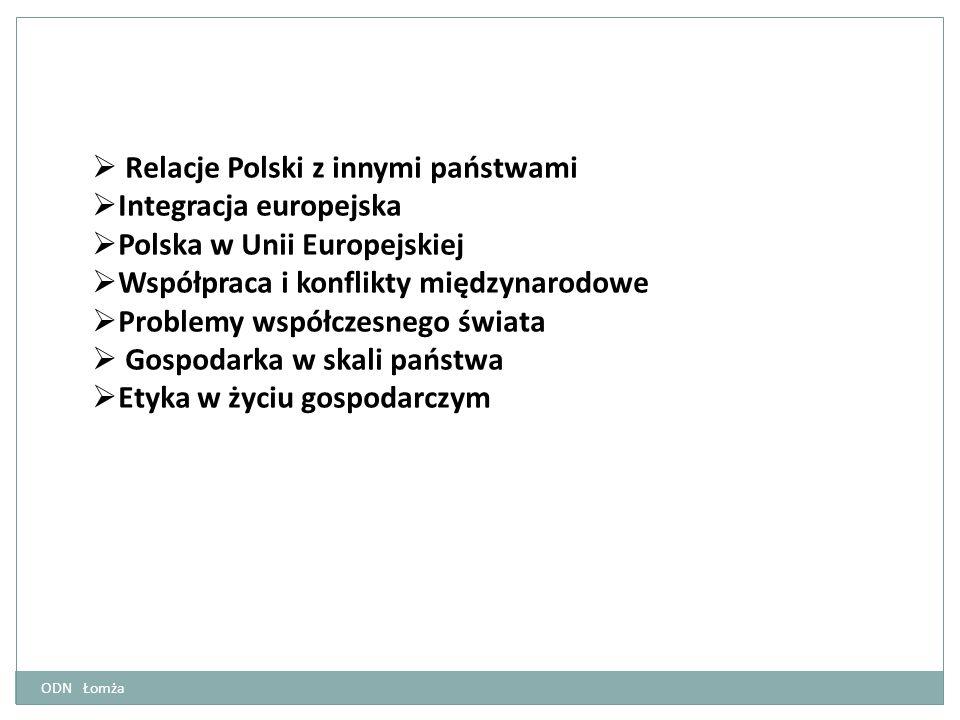  Relacje Polski z innymi państwami  Integracja europejska  Polska w Unii Europejskiej  Współpraca i konflikty międzynarodowe  Problemy współczesn