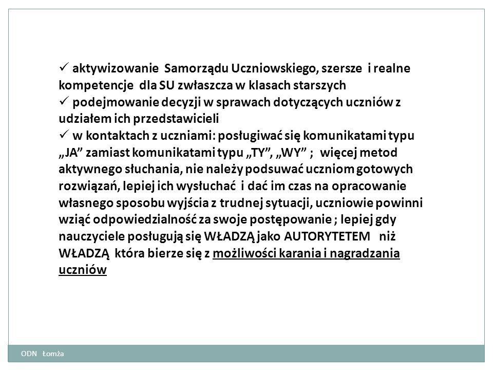 ODN Łomża aktywizowanie Samorządu Uczniowskiego, szersze i realne kompetencje dla SU zwłaszcza w klasach starszych podejmowanie decyzji w sprawach dot