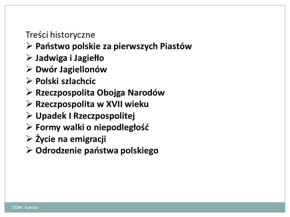 Treści historyczne  Państwo polskie za pierwszych Piastów  Jadwiga i Jagiełło  Dwór Jagiellonów  Polski szlachcic  Rzeczpospolita Obojga Narodów