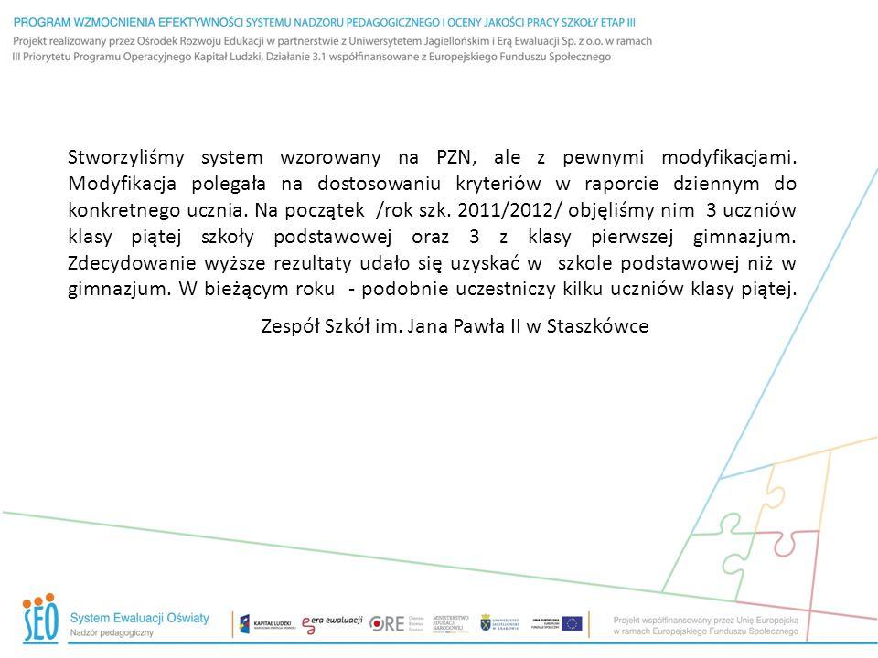 Zespół Szkół im. Jana Pawła II w Staszkówce Stworzyliśmy system wzorowany na PZN, ale z pewnymi modyfikacjami. Modyfikacja polegała na dostosowaniu kr