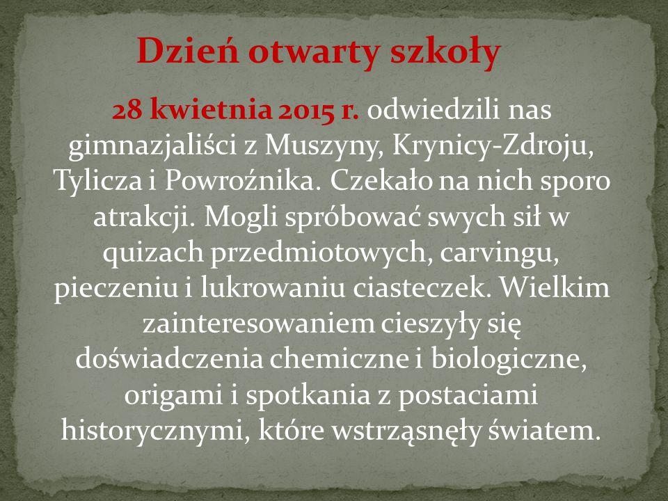 28 kwietnia 2015 r.odwiedzili nas gimnazjaliści z Muszyny, Krynicy-Zdroju, Tylicza i Powroźnika.