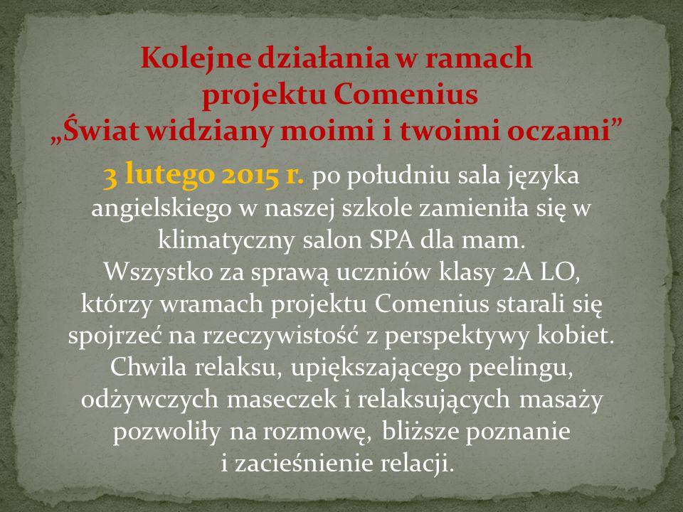 """Kolejne działania w ramach projektu Comenius """"Świat widziany moimi i twoimi oczami 3 lutego 2015 r."""
