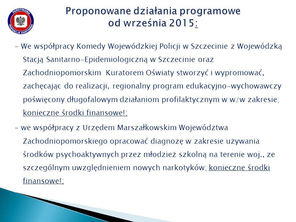 - We współpracy Komedy Wojewódzkiej Policji w Szczecinie z Wojewódzką Stacją Sanitarno-Epidemiologiczną w Szczecinie oraz Zachodniopomorskim Kuratorem Oświaty stworzyć i wypromować, zachęcając do realizacji, regionalny program edukacyjno-wychowawczy poświęcony długofalowym działaniom profilaktycznym w w/w zakresie; konieczne środki finansowe!; - we współpracy z Urzędem Marszałkowskim Województwa Zachodniopomorskiego opracować diagnozę w zakresie używania środków psychoaktywnych przez młodzież szkolną na terenie woj., ze szczególnym uwzględnieniem nowych narkotyków; konieczne środki finansowe!;