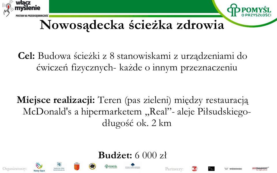 Nowosądecka ścieżka zdrowia Cel: Budowa ścieżki z 8 stanowiskami z urządzeniami do ćwiczeń fizycznych- każde o innym przeznaczeniu Miejsce realizacji: Teren (pas zieleni) między restauracją McDonald s a hipermarketem,,Real - aleje Piłsudskiego- długość ok.